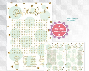 Gold glitter and mint polka dots word search, baby shower game printable - INSTANT DOWNLOAD