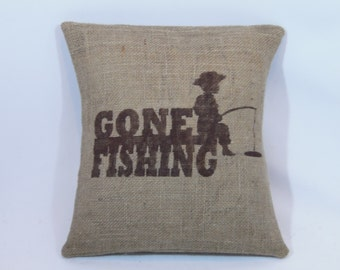 """Custom made rustic country little boy """"Gone Fishing"""" dark brown (or custom color) burlap pillow cover/sham - Customize color option!"""
