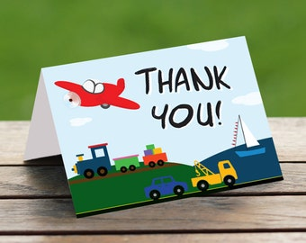 INSTANT DOWNLOAD Transportation Birthday Thank You - 5.25x4