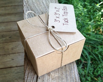 "3"" x 3"" x 2""  •  Natural Kraft Tuck Top Boxes  • Gift Box  • Jewelry • Packaging  • Pastries • Kraft Gift Box  • Brown Box • Plain Brown Box"