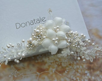 Ivory Flower  Wedding Hair Piece, Bridal headpiece, Pearl Wedding Headpiece ,Wedding headpiece, Bridal hair comb- ANGELINA