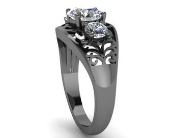 Edwardian Forever One Moissanite Engagement Ring 14K Black Gold Engagement Vintage Ring Filigree Design Ring Statement Ring - V1144