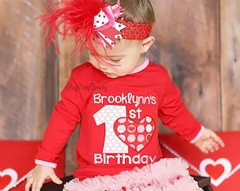 Girls First Valentines Birthday - My First Valentines Day - Valentines Dress - OTT Chiffon Dress , Headband - Valentine's Day