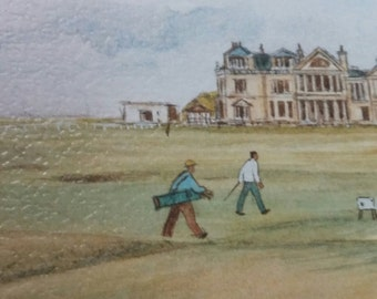 """Print of St Andrews Golf Course by Harry F McGregor 1980s Framed Watercolor Print Wall Art """"The Old Course"""""""