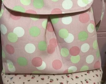 Pink, white, and green shoulder bag