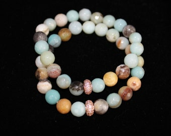 Amazonite 8 mm barcelet with rose gold pave rondell bead