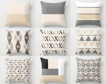 Throw Pillow Covers Geometric Home Decor Grey Black White Beige XOXO Pillow Throw Pillow Covers Decorative Covers Decorative Pillows