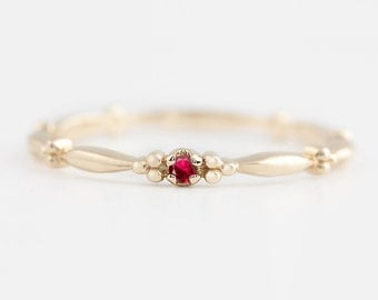 Tiny ruby solitaire ring, 14k gold, rose gold, white gold, natural ruby stack rings, ruby stacking ring, stack-r106