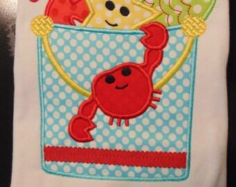 Sand Bucket Beach Shirt Star fish Crab Seahorse Custom