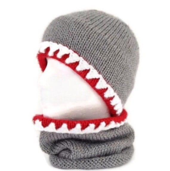 Knitting Pattern Hat Scarf Combo : Shark hat Shark scarf Shark hat and scarf Hat and scarf