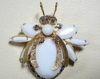 "Vintage Rhinestone Jewelry -  ""Juliana"" Bug Brooch Pin - Book Piece - Delizza & Elster"