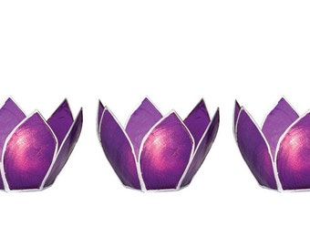 Small Plum Purple Capiz Lotus Tea Light Holder