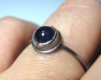 Amethyst Stacking Ring in Oxidized Sterling Silver - Made to Order Gemstone Jewelry