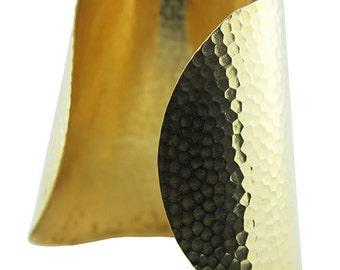 "Hammered Domed Tapered Brass Cuff Bracelet 3"" Wide (MSBR1045)"