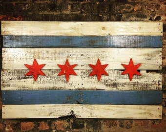 "Chicago Flag (40""x24""x2"") Chicago Flag,  Wooden Chicago Flag, Chicago Art, Chitown Art, Chicago Wall Decor, Windy City, Windy City Art, Art"