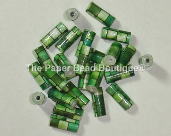 Paper Beads, Loose Handmade Supplies Tube Green Mosaic