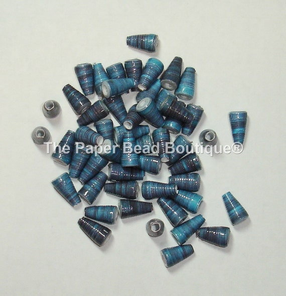 paper beads loose handmade supplies cone blue ink from