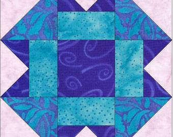 Folded Corners 15 Inch Block Paper Template Quilting Block Pattern PDF