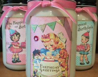 Retro Happy Birthday Soy Candles in 16oz Mason Jars Choose a Bakery Scent Birthday Gifts Gift Ideas Scented Candles