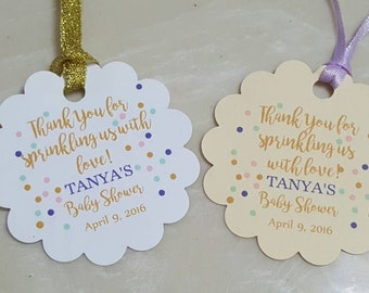 Personalized Favor Tags 2'', Baby Girl Shower  tags, Thank You tags, Favor tags, Gift tags, SPRINKLING, baby sprinkle, bridal shower
