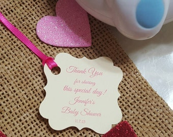 Personalized Favor Tags 2x2'', Baby Girl Shower  tags, Thank You tags, Favor tags, Gift tags, Rustic Tag, baby shower