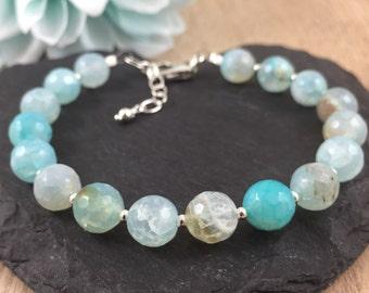 Teal Aqua Agate Bracelet, Gemstone Bracelet, Agate Bracelet, Aqua Bracelet, Sterling Silver