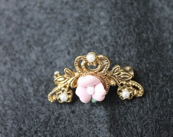 Ceramic Pink Rose Brooch Pin