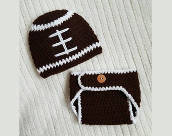 Football baby hat and diaper cover, baby gift, crochet football beanie, baby boy gift, newborn photo prop, 0-3 month baby shower gift