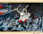 Susanoo no Mikoto and the eight headed serpent. Ukiyo-e woodblock print. 日本略史之内 素戔嗚尊 出雲の簸川上に八頭蛇を退治したまふ圖