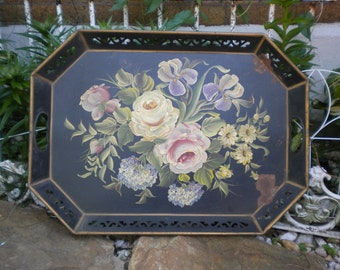Vintage Metal Italian Toleware Tray, Hand Painted Flowers, Shabby french Tole, French Toleware, French Tray