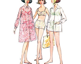 McCalls Sewing Pattern 7295 Misses' Bathing Suit, Beach Coat in two lengths - estimated vintage 1960's  Size:  11  Bust 31.5  Used