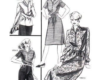 Stretch & Sew Sewing Pattern 1542 Narrow Tab Dress and Blouse  Size:  28-44  Uncut