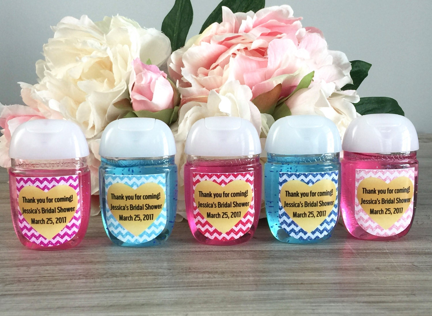 Pink hand sanitizer labels blue baby shower favor labels hot for Hand sanitizer bridal shower favors
