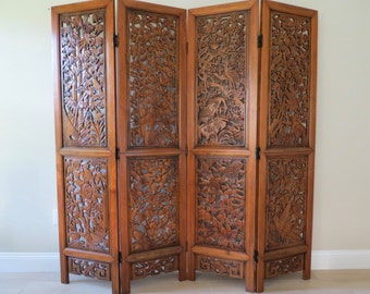 Vintage Oriental Hand Carved Wood Divider - Four Panel Folding Screen Room Divider - Privacy Screen - Brass Hinges - Asian Screen