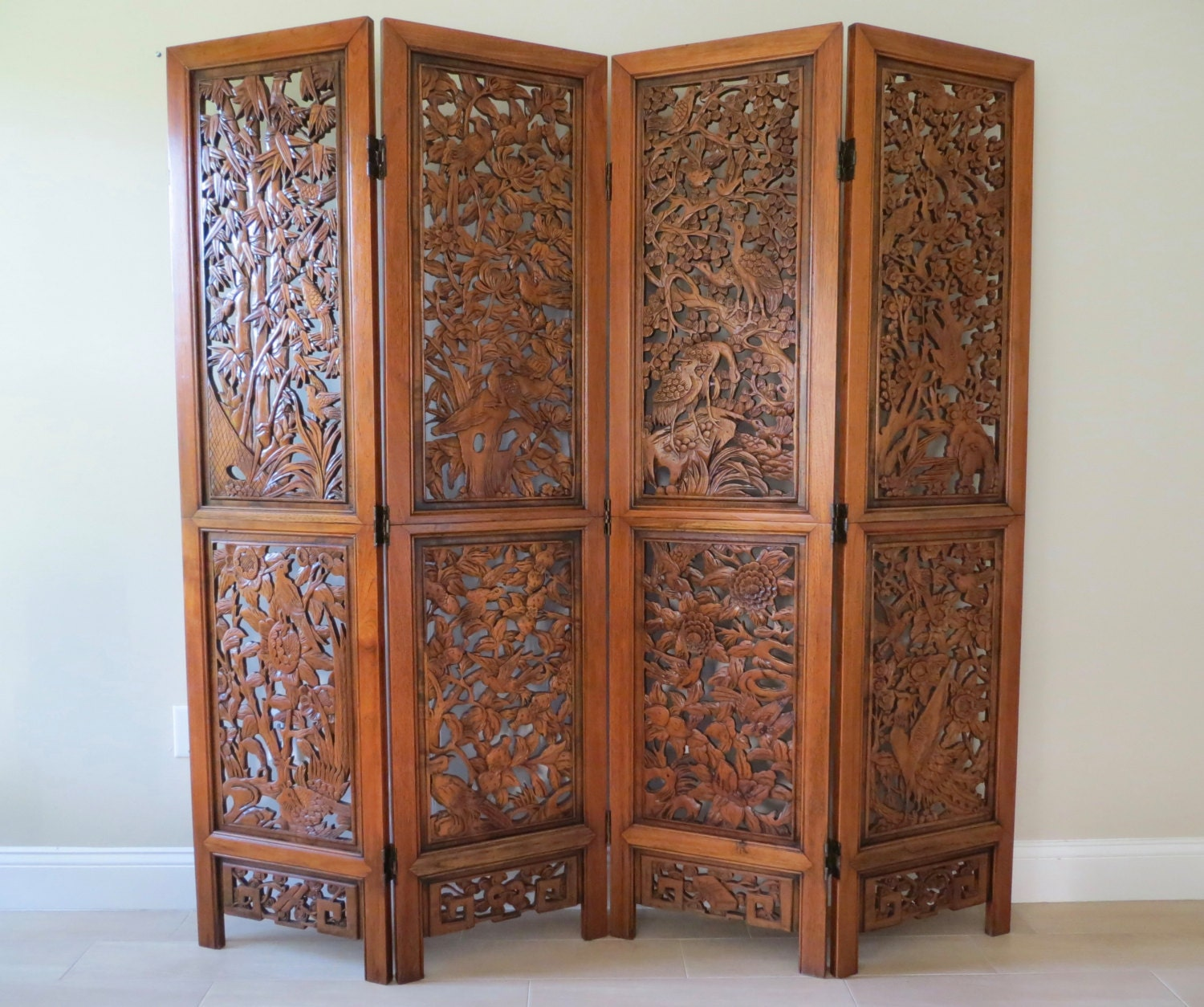 Best Oriental Wood Screens ~ On sale vintage oriental hand carved wood divider four panel