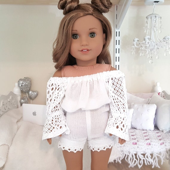 18 inch doll white romper