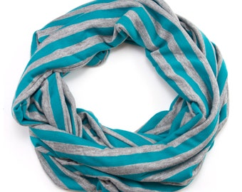 Jersey Infinity Scarf - Teal and Grey Stripes