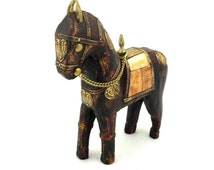 "Vintage Folk Art Carved Wood Horse Figurine with Bone Inlay and Metal Overlay Trim, 6"" Tall"
