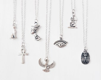 Egyptian Necklaces on Antique Silver Chain | 7 Styles