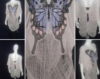 Blue Butterfly Shred Art Shirt