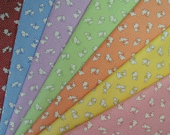 Bundle of 1/8 Lecien Retro 30's Bunnies Fabric in 7 Colorways. Made in Japan