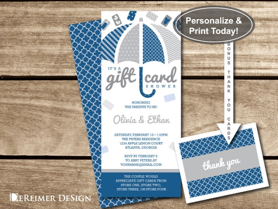 Gift Card Shower Invitation, Gift Card Baby Shower, Baby Shower ...