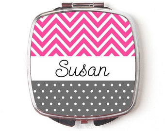 Personalized Compact Mirror - Pink Personalized Bridesmaids Gifts - Personalized Purse Mirror