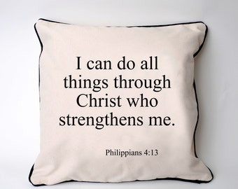 bible verse pillow cover - phillipians bible verse home decor