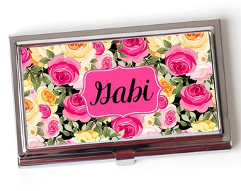 Personalized Business Card Case - Floral Business Card Case - Personalized Purse Business Card Case