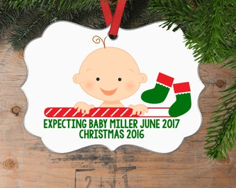 Personalized Pregnancy Christmas Ornament - Pregnancy Announcement - Expecting Christmas Ornament - Pregnancy Christmas Ornament
