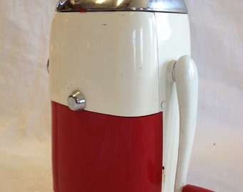 Vintage Red and White Ice Crusher by Ice O Mat