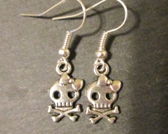 Skull and Crossbones with Bow Earrings, Punk Rock Skeleton