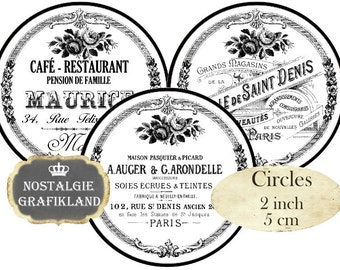 printable Circles French Ephemera Text Logo Black White Frames 2 inch Instant Download digital collage sheet C183