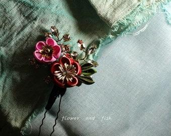 kanzashi, kanzashi flower, kanzashi hair pin, janpanese hair stick, red, Japanese hair pin, geishas hair piece